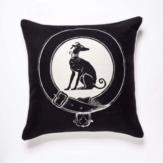 Greyhound Cushion - Ebony