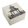 "Alabaster Lacquer Box - Pavilion - 5""x5""x3"" - Aqua"